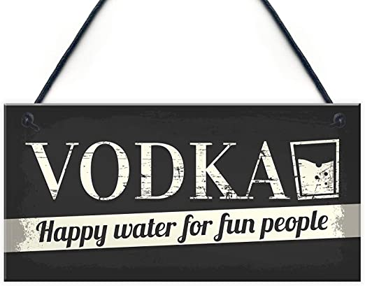 New Home Friend Gift Shabby Chic Plaque Hanging Funn Sign Vodka