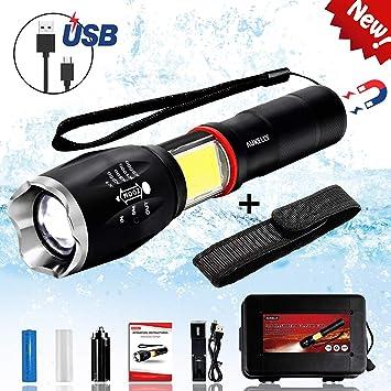 Aukelly LED Linterna de Mano Resistente al Agua con Batería ...