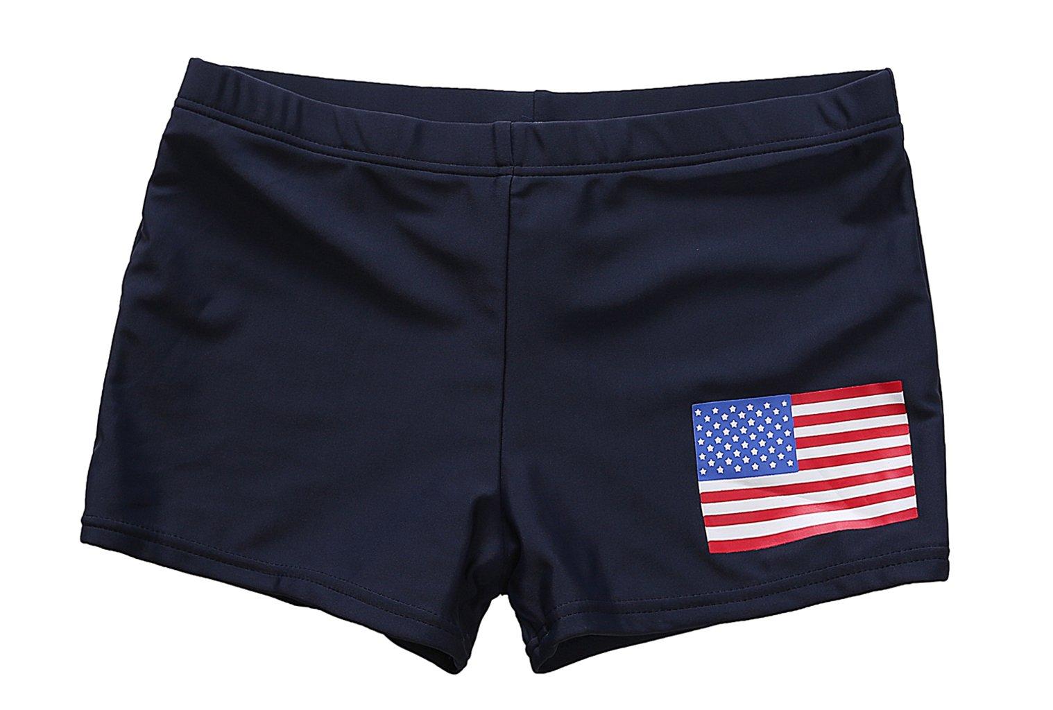 BeautyIn Boys Swim Shorts Stars and Stripes American Flag Swimwear 6,Navy,5-6 years