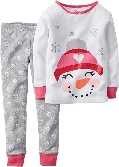 f1897eeb7 Amazon.com  Carter s Baby Girls  2 Piece PJ Set (Baby) - Snowman - 6 ...