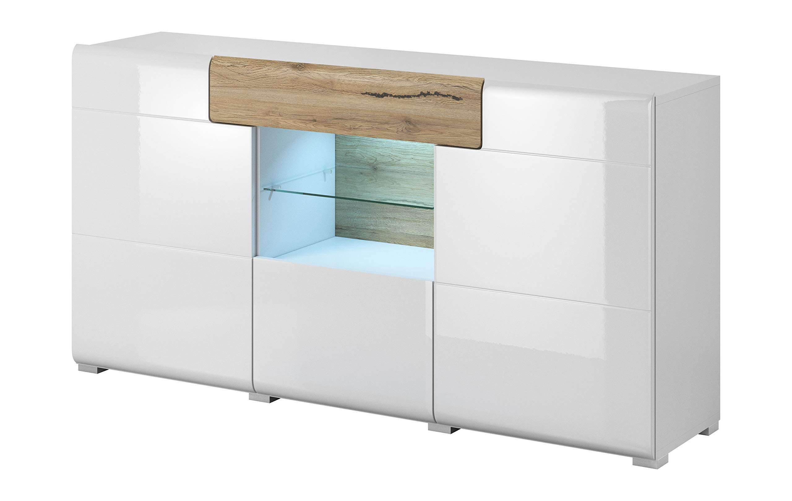 Toledo Collection Sideboard 26 – Elegant Sideboard in White Glossy Color with San Remo Oak Elements – 3 Doors and1 Drawer Plus Central Glass Shelf with LED Lights - This glassed sideboard has 3 doors (with 1 shelf behind the lateral ones), 1 central drawer with San Remo oak finish and 1 Glassed central shelf with LED lights High quality materials and finish. Made of durable high quality laminated board, that is moisture and heat resistant, as well as scratch resistant thanks to the special membrane foil that covers external surfaces. The main features of this sideboard are: The doors and the drawer incorporate aspecial mechanismto assure a soft andsilent closing, and the drawer additionally has a quasi full opening function, to enable better access to all your things, and the central shelf with tempered glass shelf is lit with LED lights to offer a modern look - sideboards-buffets, kitchen-dining-room-furniture, kitchen-dining-room - 71H3w4Gqy2L -