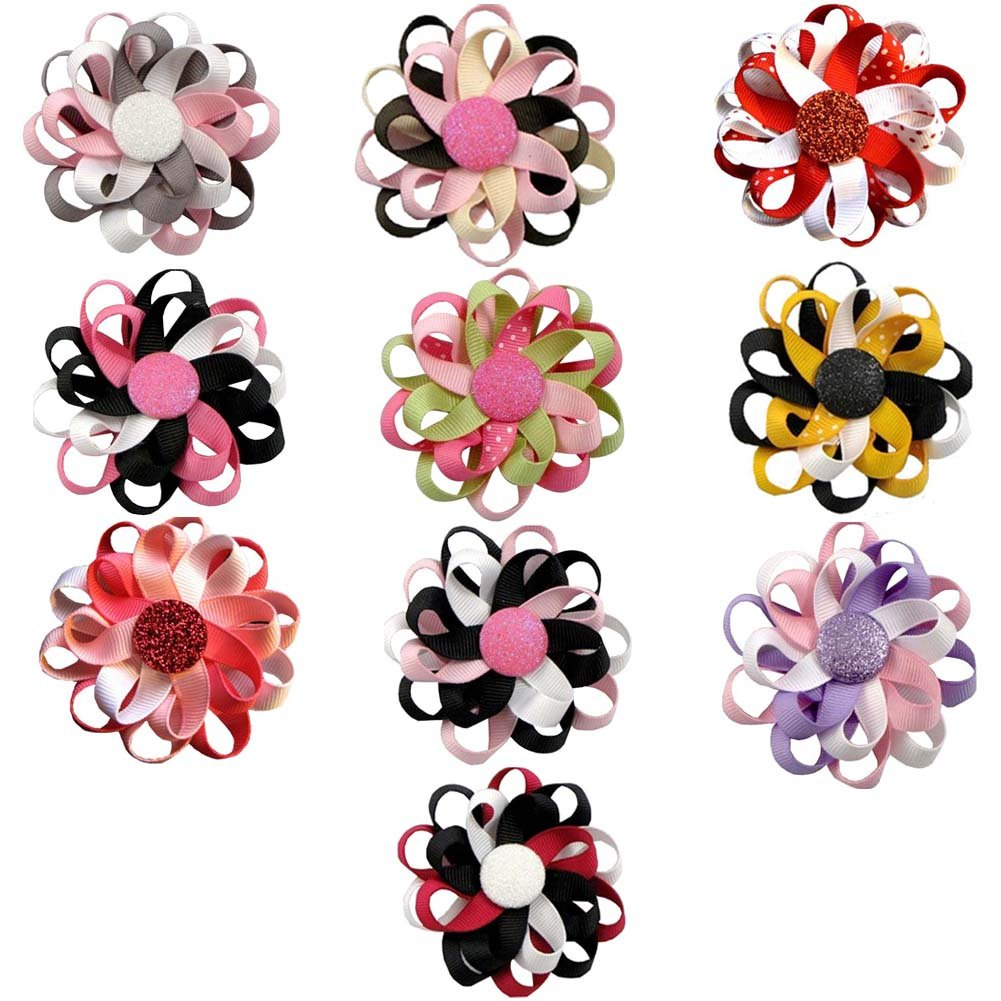 "Janecrafts 10pcs 3"" Flower Loop Hair Bow Clips Hairbow Assorted 10 Color"