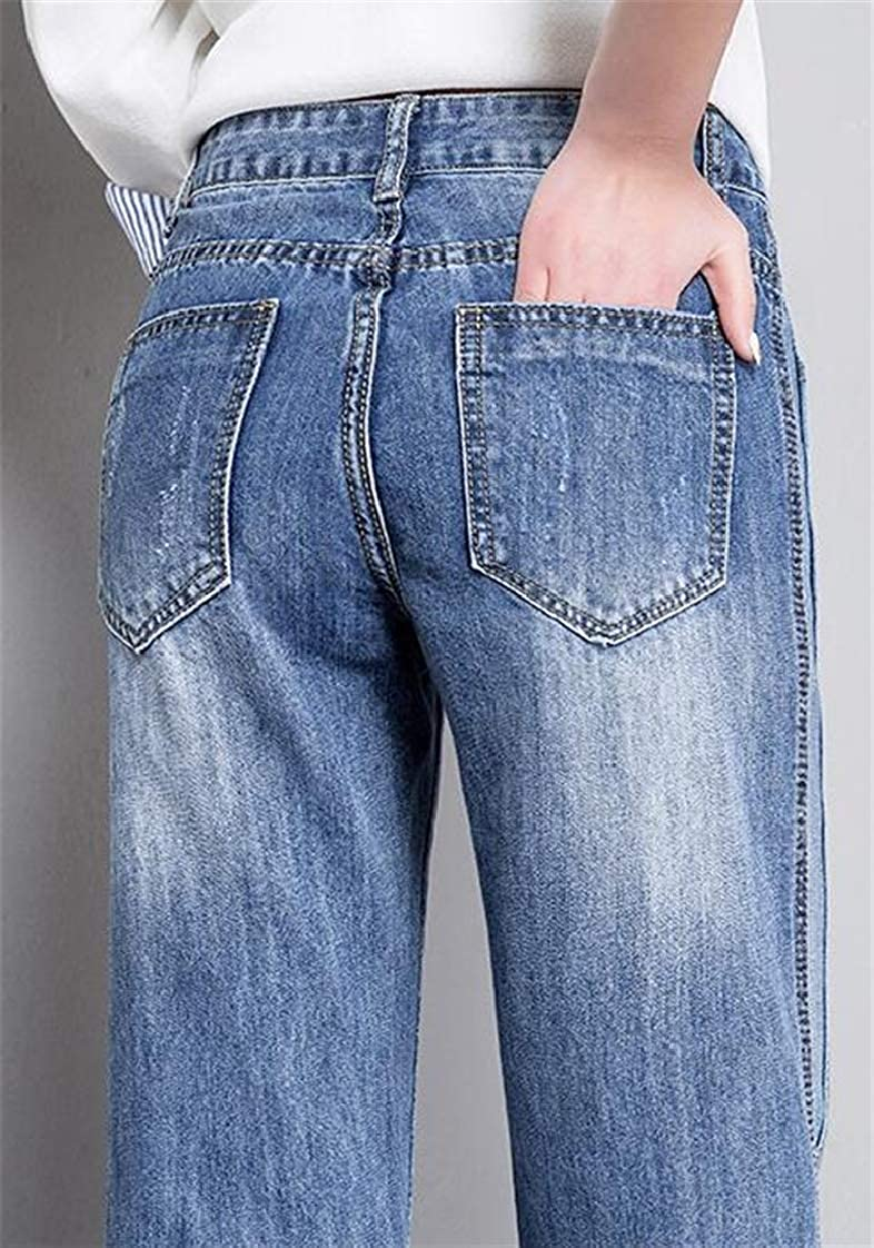 Pandapang Womens Wide Leg Casual Straight Fit Faded High Rise Denim Pants Jeans