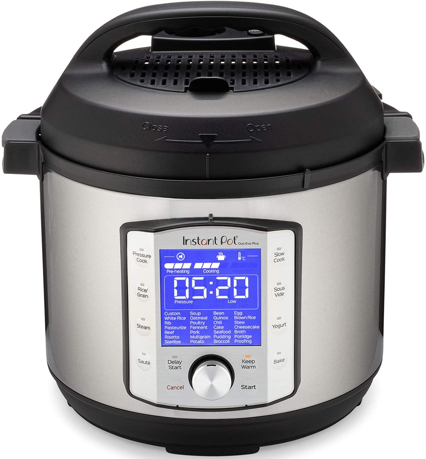 Instant Pot Duo Evo Plus 9-in-1 Electric Pressure Cooker, Sterilizer, Slow Cooker, Rice Cooker, Grain Maker, Steamer, Saute, Yogurt Maker, Sous Vide, Bake, and Warmer, 6 Quart, 10 Programs