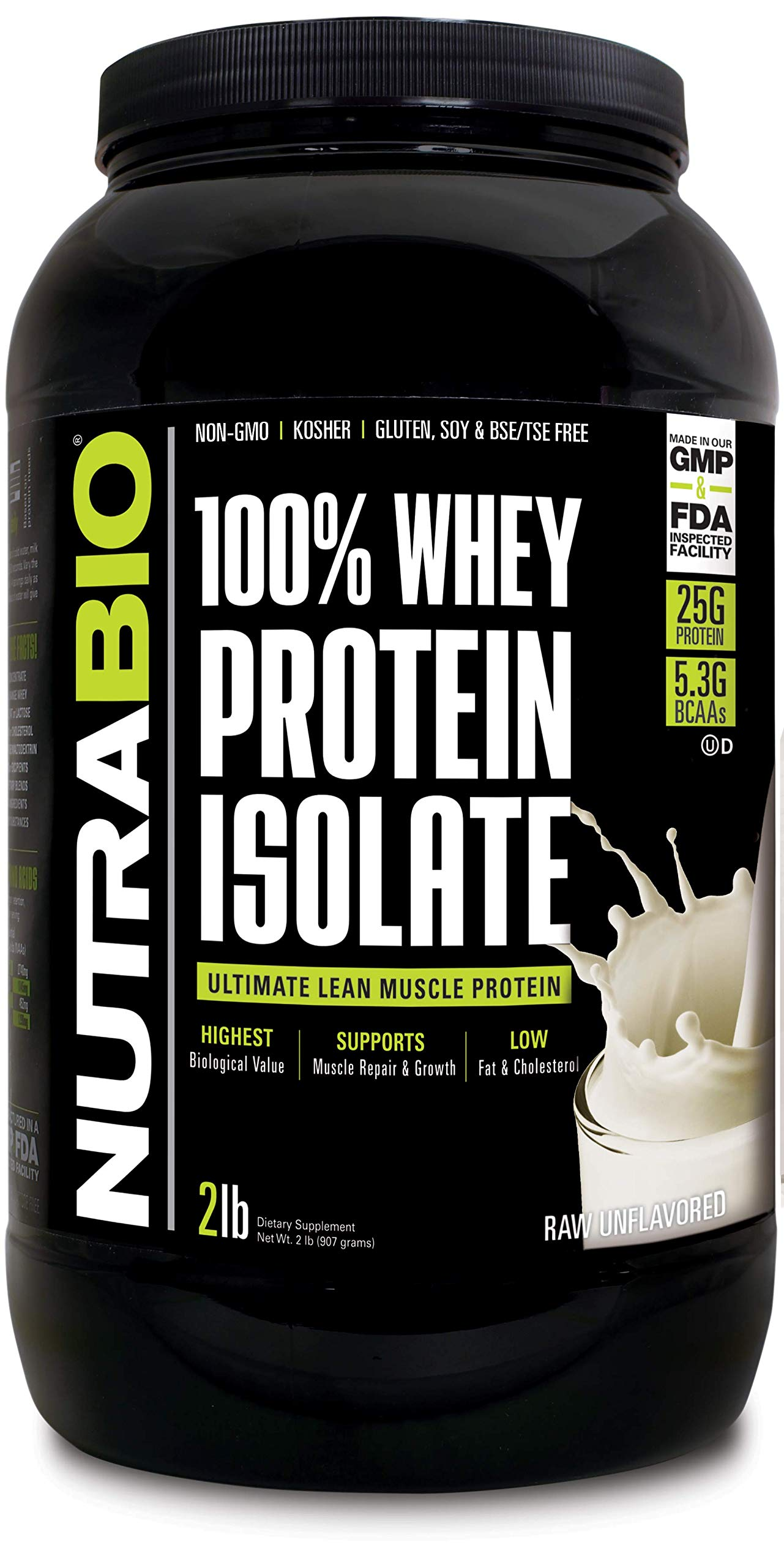 NutraBio 100% Whey Protein Isolate (Unflavored, 2 Pounds) by NutraBio