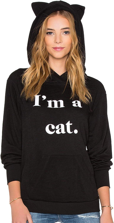 Charmley Sudadera Holgada con Capucha y Estampado de Orejas de Gato para Mujer