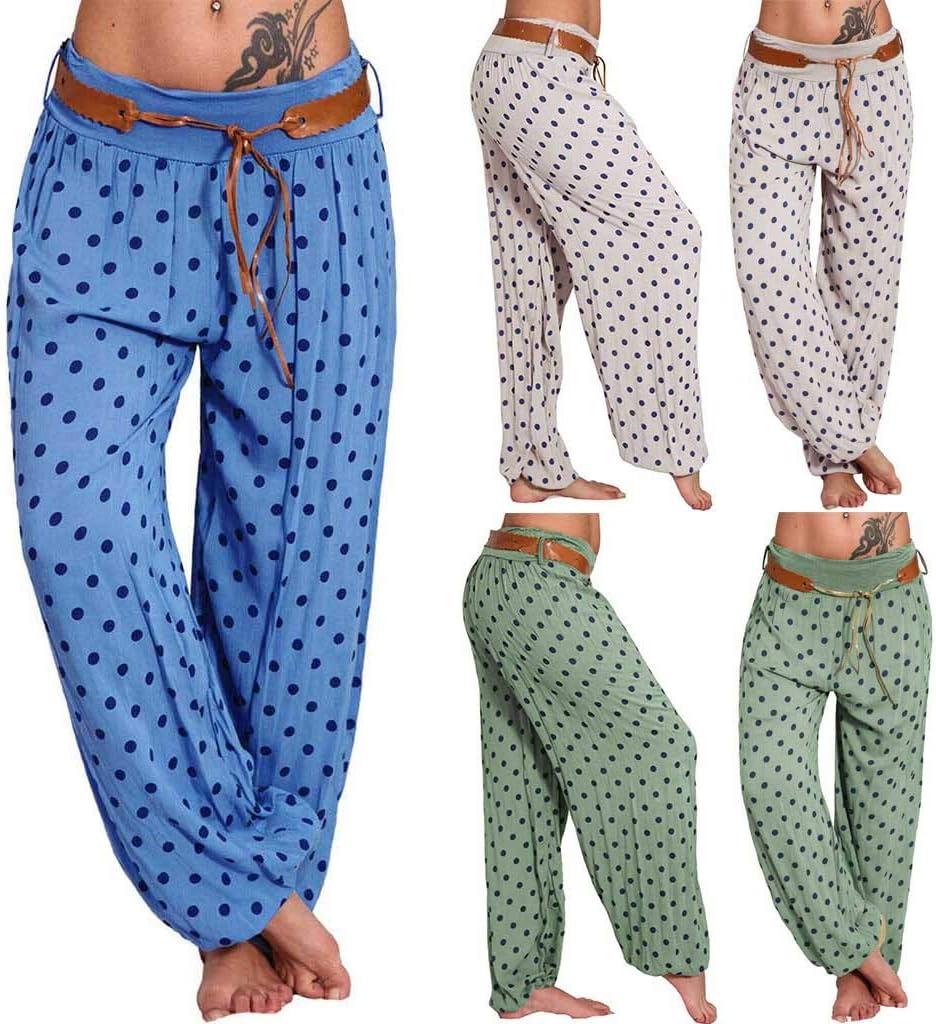 Haalife◕‿ Women Loose Pants Polka Dots Floral Print Boho Yoga Pants Harem Pants Ladies Wide Leg Lounge Pants Blue