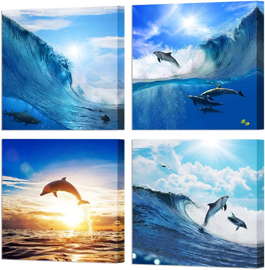 HOMEOART Dolphin Wall Art Blue Ocean Jumping Dolphins Animal Bathroom Decor Painting Picture Prints on Canvas Framed Home Wall Decoration12