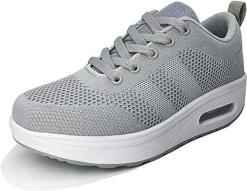 Zapatillas Deportivas Mujer Zapatos Deporte Gimnasio Cuña Zapatillas de Running Ligero Sneakers Cómodos Fitness Zapatos de Trabajo Zapatillas Casual Gris 37EU: Amazon.es: Zapatos y complementos