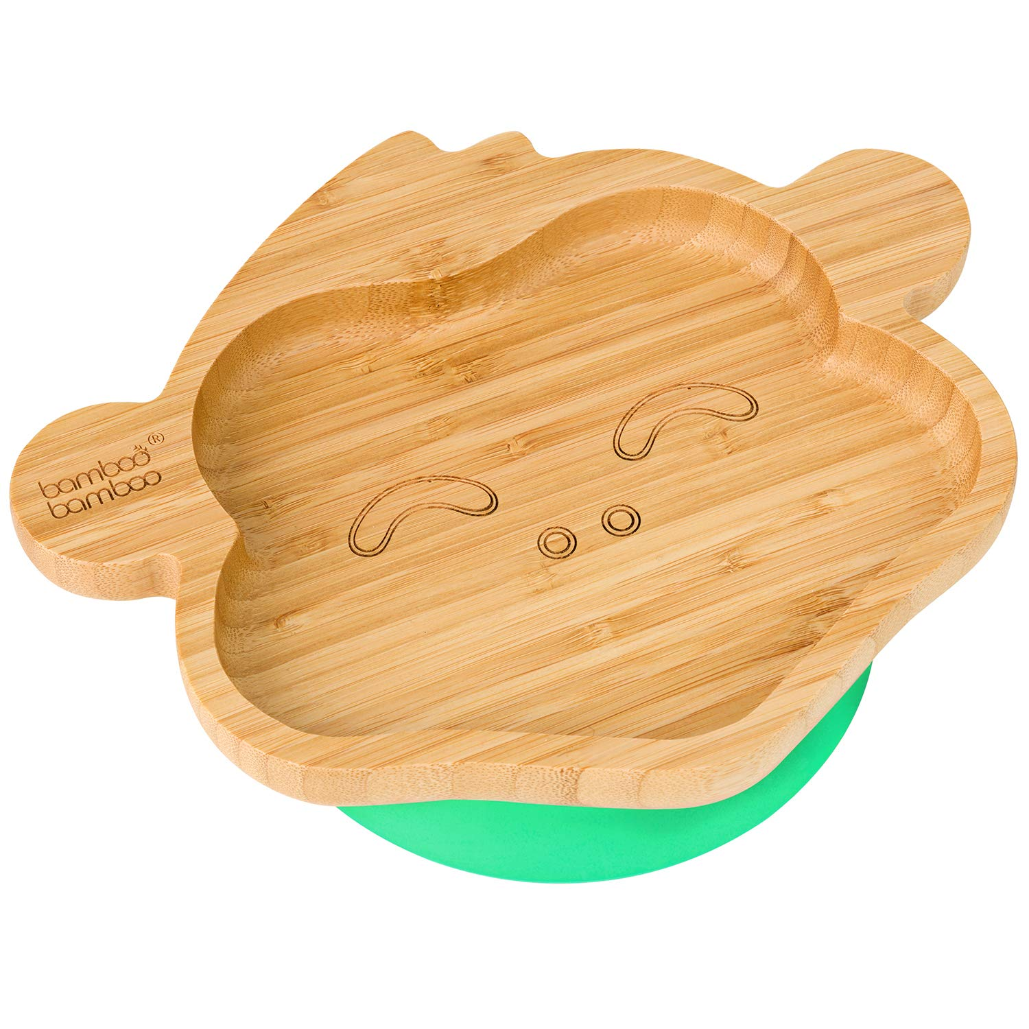 Natural Bamboo Blue Stay Put Feeding Plate Baby Toddler Monkey Suction Plate