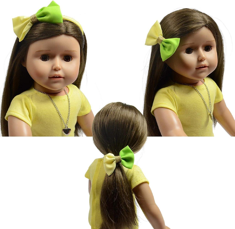 The New York Doll Collection Conjunto de 3 Diadema, Goma de Caballo y Pinza Accesorios para el Cabello de la muñeca (D314)