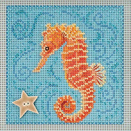 Seahorse Beaded Counted Cross Stitch Kit Mill Hill 2018 Buttons Beads Spring MH141813