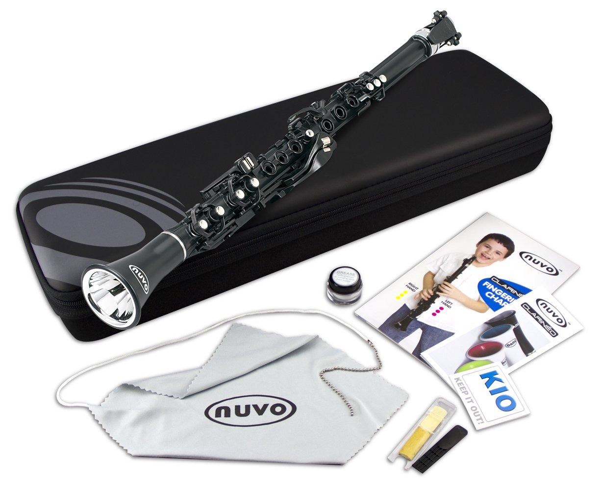Nuvo N100CLBK Clarineo Kit with Case & Accessories, Black with Stainless Steel Collars