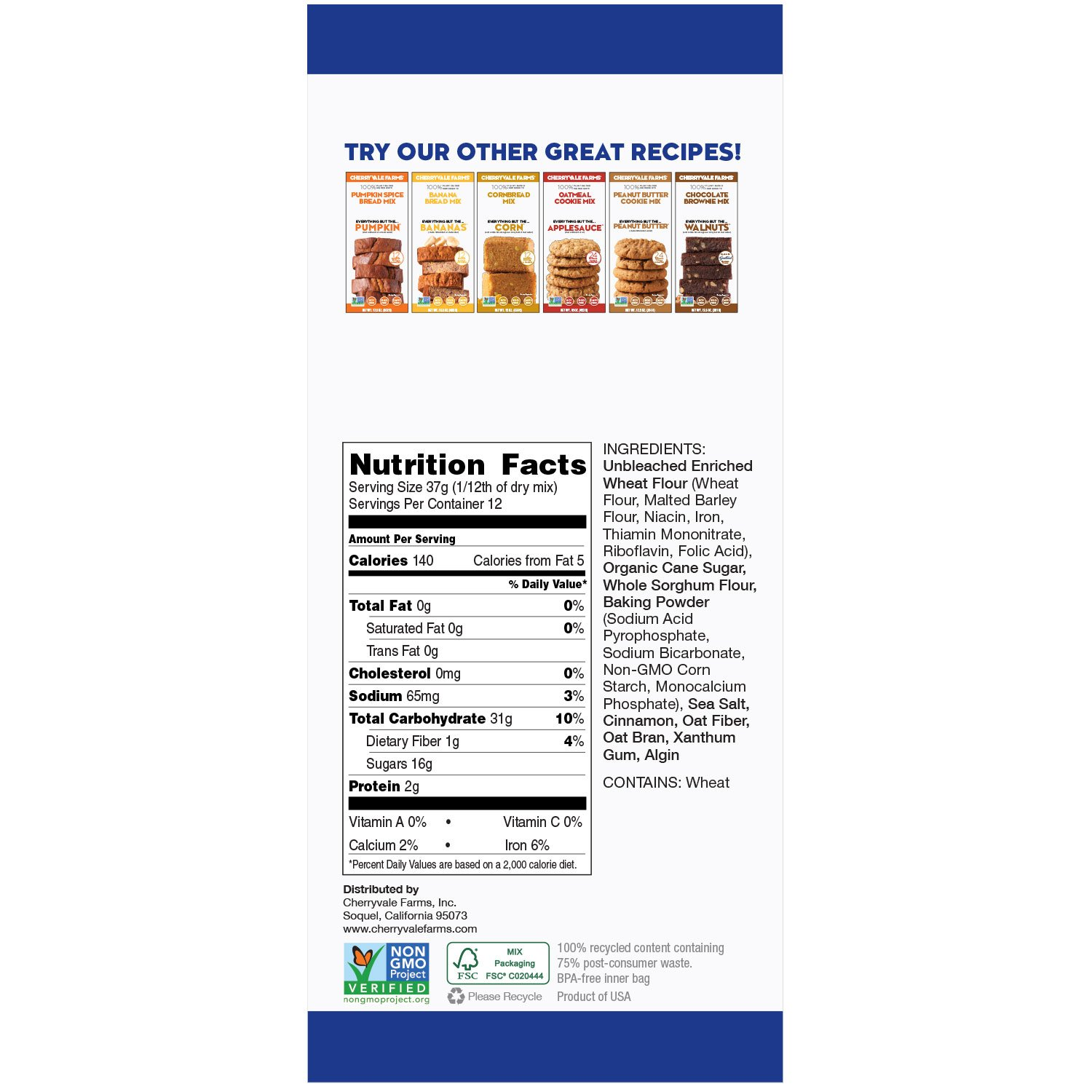 Cherryvale Farms, Blueberry Muffin Baking Mix, Everything But The Blueberries, Add Fresh Produce, Tastes Homemade, Non-GMO, Vegan, 100% Plant-Based, 16 oz (pack of 6) by CHERRYVALE FARMS (Image #2)