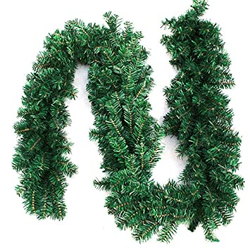 WEKNOWU Girlande für Weihnachtsschmuck, 8.8ft Girlande für Weihnachten künstliche Kiefernadeln Dekorationen für Urlaub Hochze