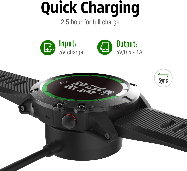 MoKo Charger Dock Compatible with Garmin Vivoactive 3//4//4S//Venu//Fenix 5//5 Plus//5S//5S Plus//5X//5X Plus//6//6S//6X//6 Pro//6S Pro//6X Pro//Forerunner 745//Instinct//Quatix 5 Black USB Data Sync Charging Station