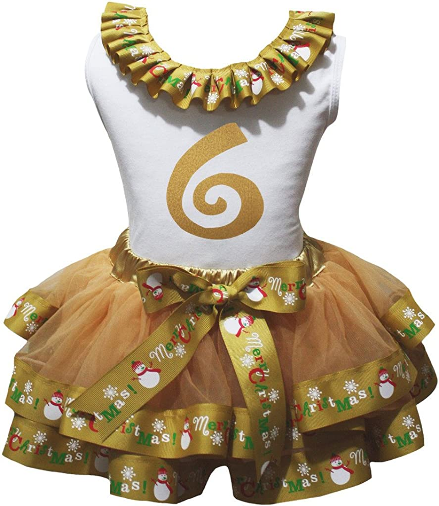 Petitebella Bling 6th L//s Shirt Merry Christmas Gold Petal Skirt Outfit Nb-8y