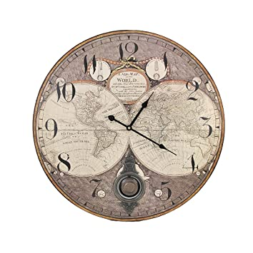 Old World Map 23 Inch Diameter Pendulum Wall Clock