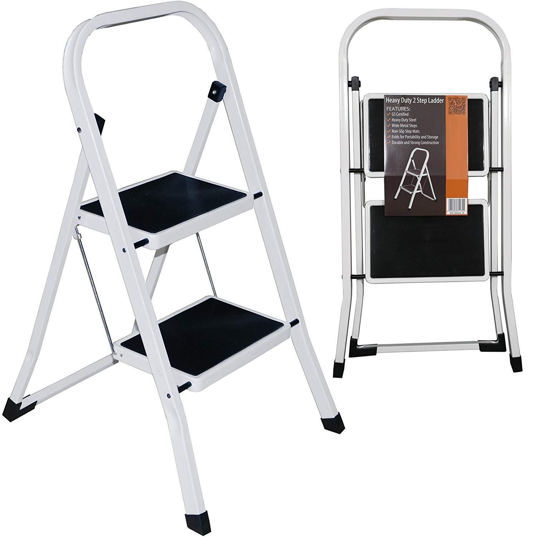 Heavy Duty Steel 2 Step Ladder Portable Compact Folding Metal Stepladder Stool Marko