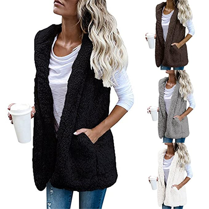 Acereima Womens Warm Vests Open Stitch Fleece Jackets Winter Hooded Waistcoats at Amazon Womens Coats Shop