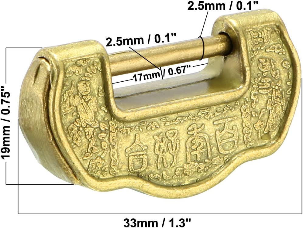uxcell 33mm Body Wide Padlock Antique Chinese alt Style Zinc Alloy Brass Plated