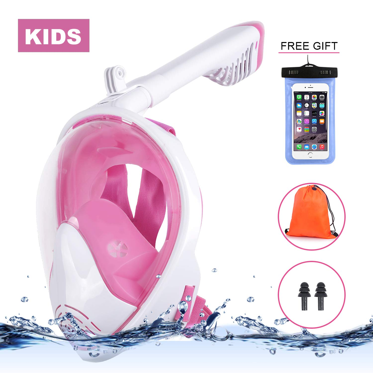 ReHaffe Small Full Face Snorkel Mask Pink, Foldable 180°Full Face Snorkel Mask Kids for Clear Veiwing and Anti-Fog Anti-Leak Easy Breath Compatible with Detachable Camera Mount Perfect for Swimming