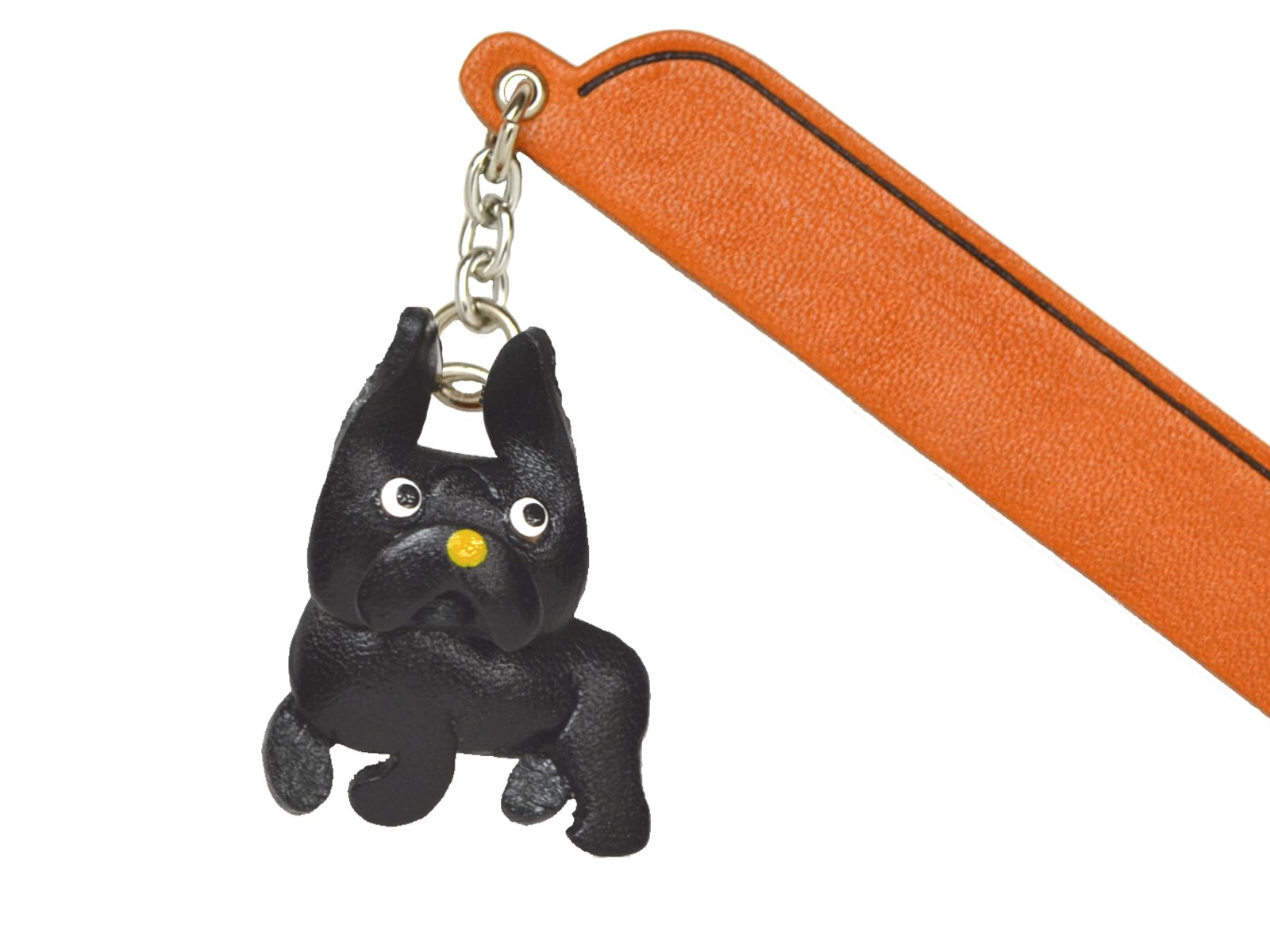 French bulldog Black Leather dog Charm Bookmarker VANCA Handmade in Japan