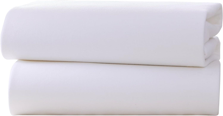 Clair de Lune Lot de 2 draps plats pour lit b/éb/é en jersey de coton Blanc