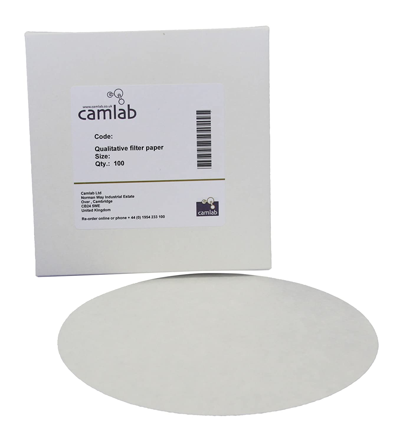 Camlab 1171128 Grade 122 [114] General Purpose Filter Paper, Very Fast Filtering, 90 mm Diameter (Pack of 100)