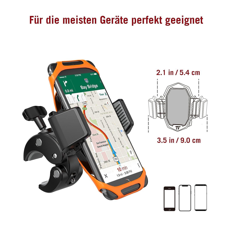 Handyhalterung Fahrrad TaoTronics Handyhalter Fahrrad Telefonhalter Motorrad mit Ein-Knopf-Freigabe 360/° drehbarem Gelenk /& Dreifachschutz