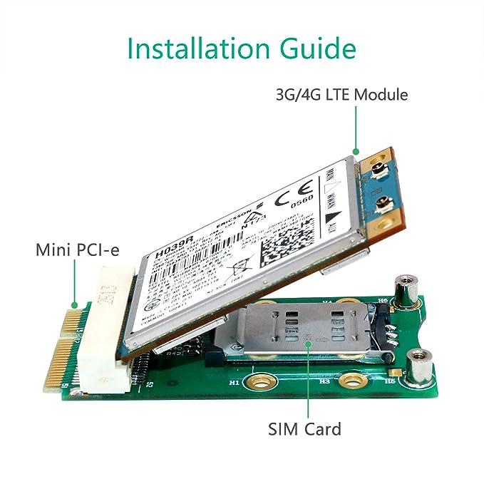 LeHang Mini Adaptador PCI-E con Ranura para Tarjeta SIM para ...