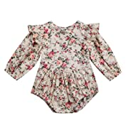 Infant Baby Girl Twins Long Sleeve Ruffles Romper Bodysuit Outfit Clothes (0-6 Months, Floral)