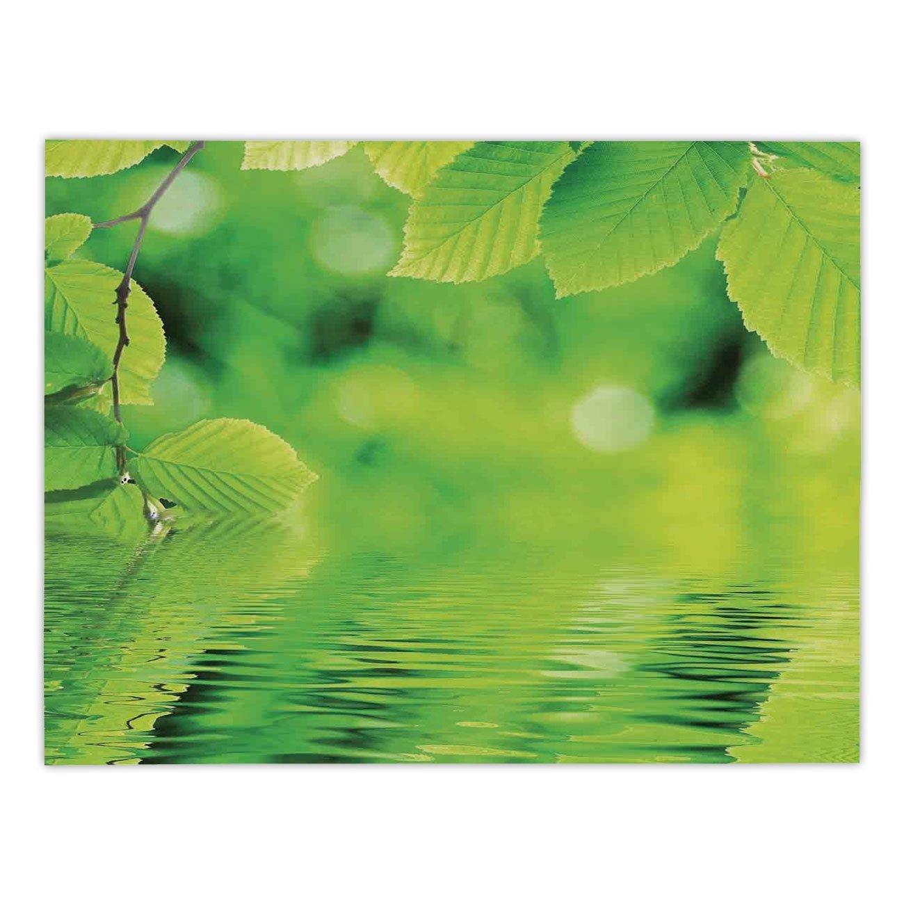 iPrint Rectangular Satin Tablecloth,Leaves,Leaves in Water Spa Open Your Chakra with Nature Meditation Ecological Monochrome Photo,Green,Dining Room Kitchen Table Cloth Cover
