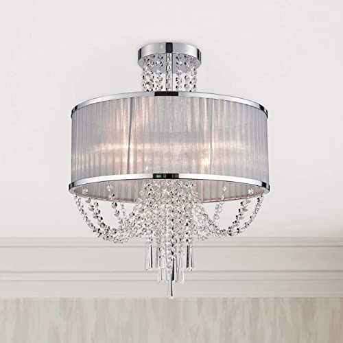 Editors' Choice: Modern Crystal Raindrop Chandelier Lighting Semi Flush Mount LED Ceiling Light Fixture Pendant Lamp