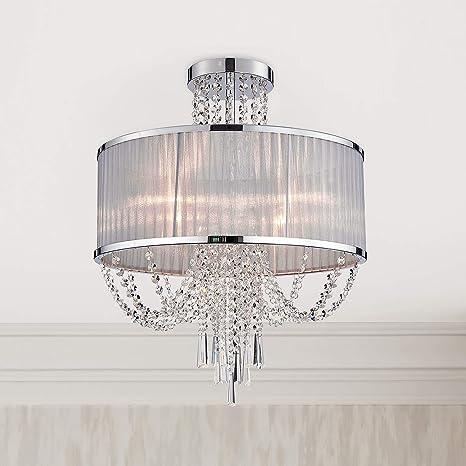 Modern Crystal Raindrop Chandelier Lighting Semi Flush Mount Led Ceiling Light Fixture Pendant Lamp For Dining Room Bathroom Bedroom Livingroom 4 E12