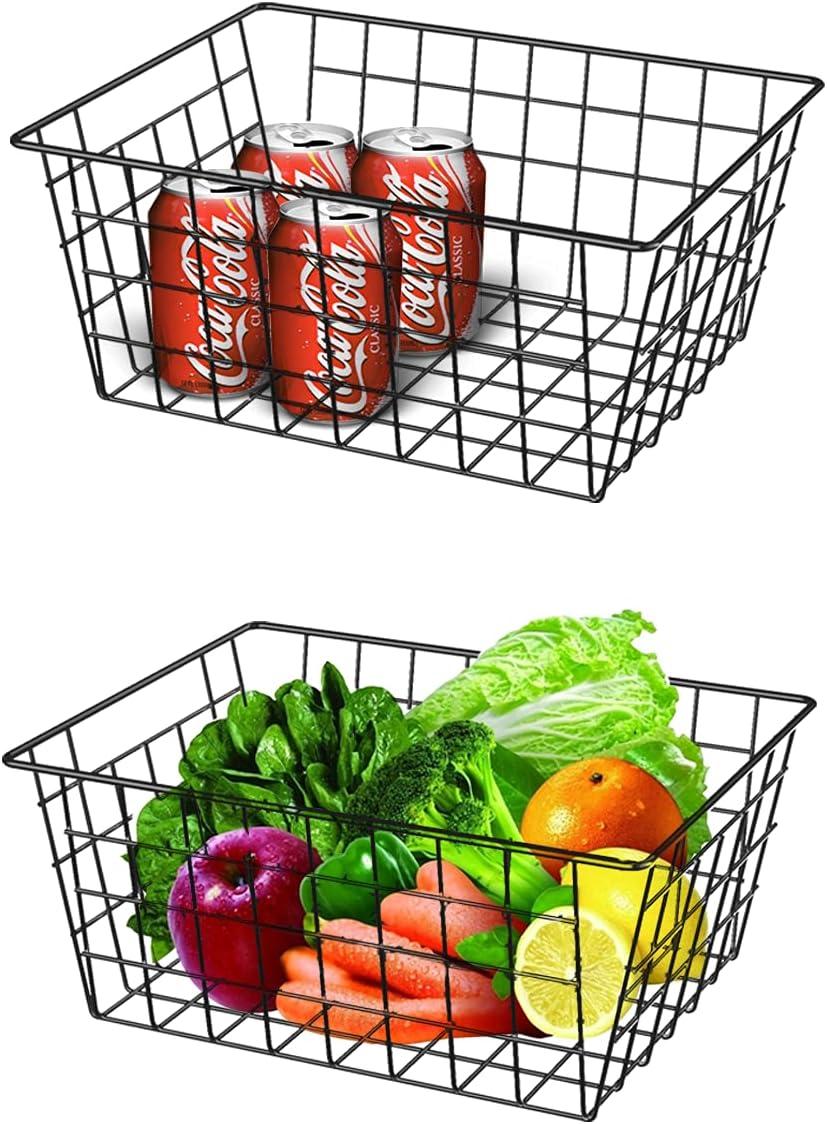 Wire Baskets, ZcoOne Farmhouse Decor Metal Wire Food Organizer Storage Bin Baskets with Handles for Kitchen, Bathroom, Office, Camping (Black, Set of 2)