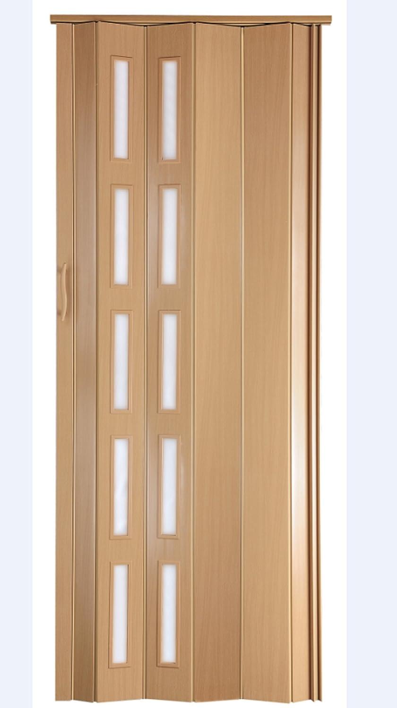 Verriegelung Fenster blickdicht H/öhe 202 cm Einbaubreite bis 94 cm Doppelwandprofil Neu Faltt/ür Schiebet/ür T/ür Kunststofft/ür buche farben mit Schlo/ß