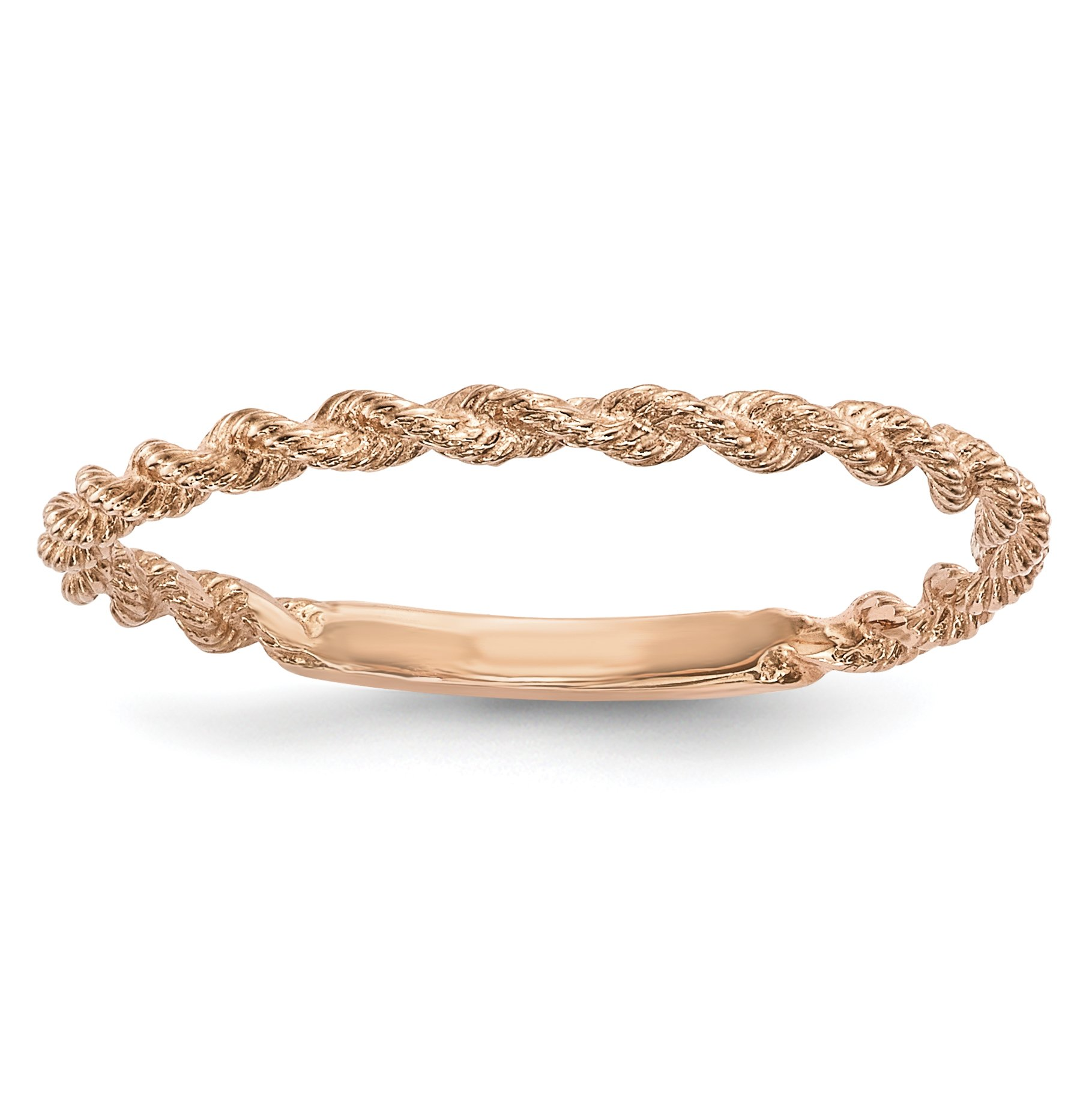 ICE CARATS 14k Rose Gold Twisted Rope Band Ring Size 7.50 Fine Jewelry Gift Set For Women Heart
