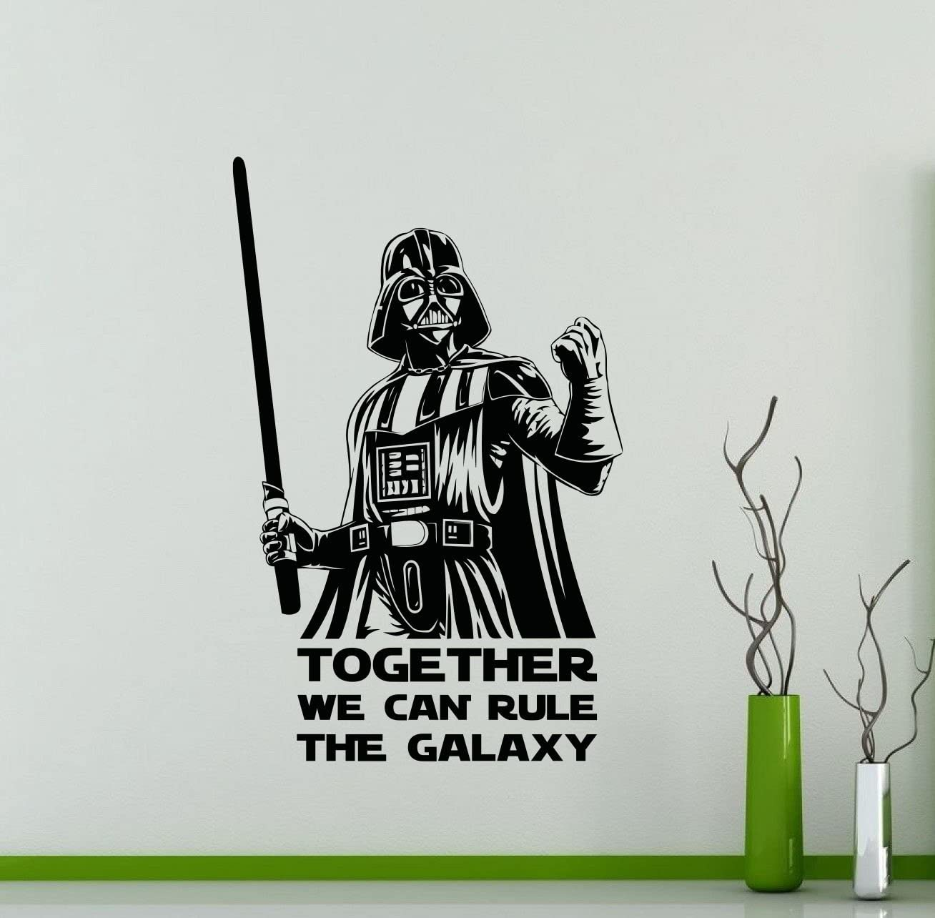 Star Wars Wall Decals Darth Vader Together We Can Rule The Galaxy Quote Poster Vinyl Sticker Home Teen Kids Room Bedroom Living Room Nursery Ideas Art Decor Stencil Lettering Vinyl Mural (24sw)