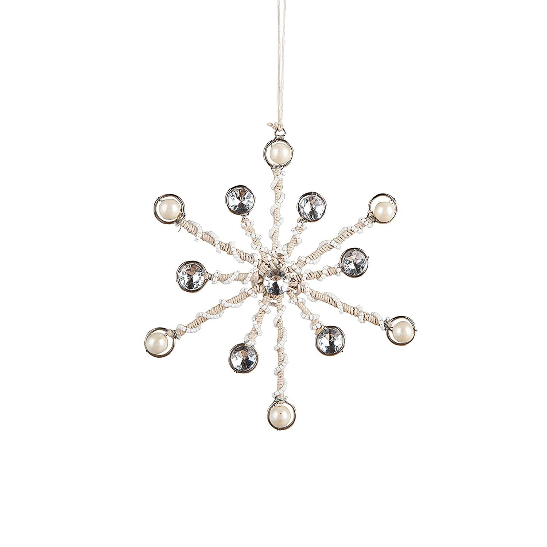 Diamond Pearl Iron & Jute Snowflake Christmas Ornament
