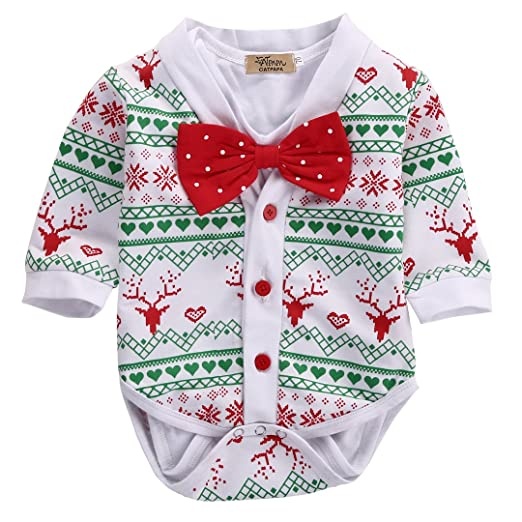 newborn baby girl boy snowflake coatromper playsuit christmas outfits clothes 0 3