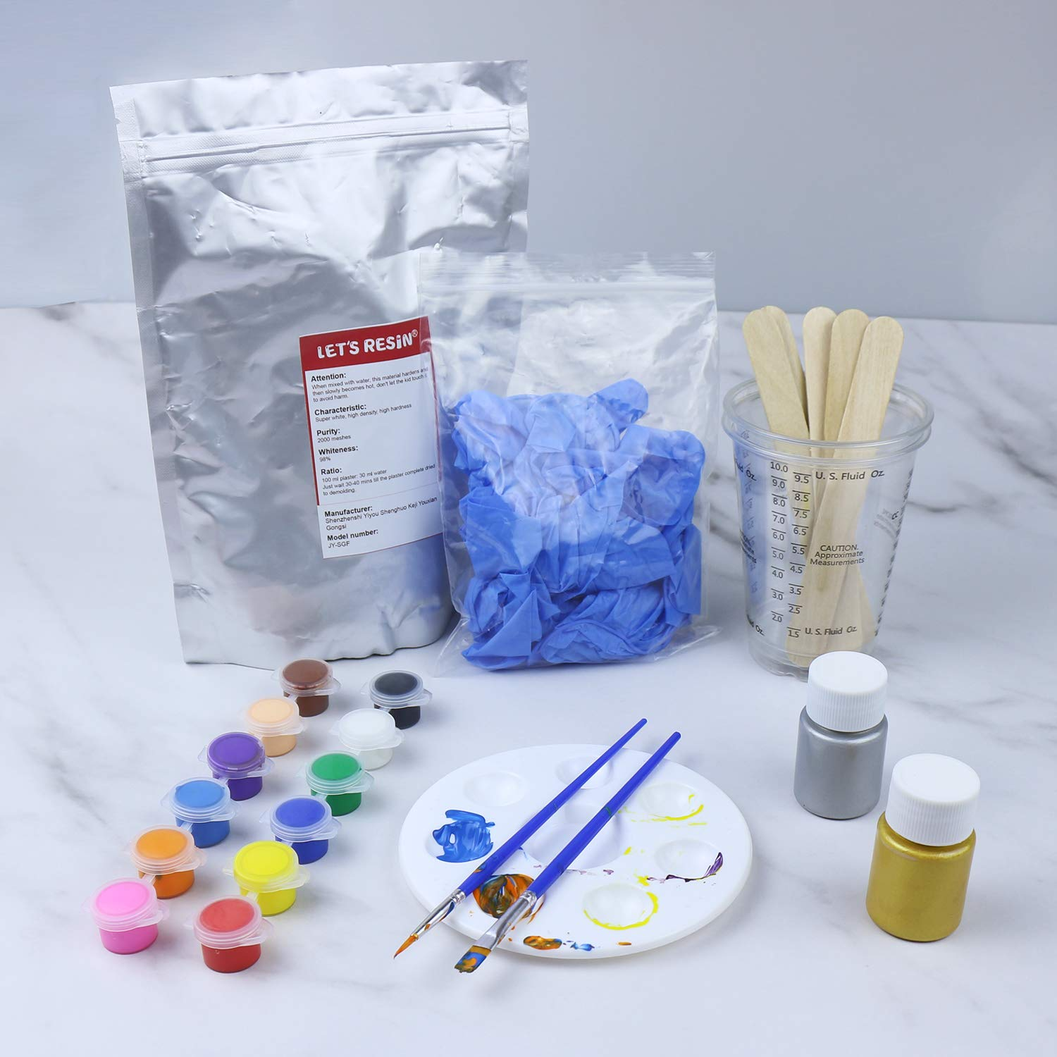 1 Pound DIY Hand Casting Kit with 14 Colors Acrylic Paint Paint Brush,for Gypsum Statue and DIY Statue Craft. High-Density Statue Molding Kit