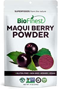 BioFinest Maqui Berry Juice Powder - 100% Pure Freeze-Dried Antioxidants Superfood - Usda Certified Organic Kosher Vegan Raw Non-Gmo - Boost Digestion Weight Loss - For Smoothie Beverage Blend (4 Oz)