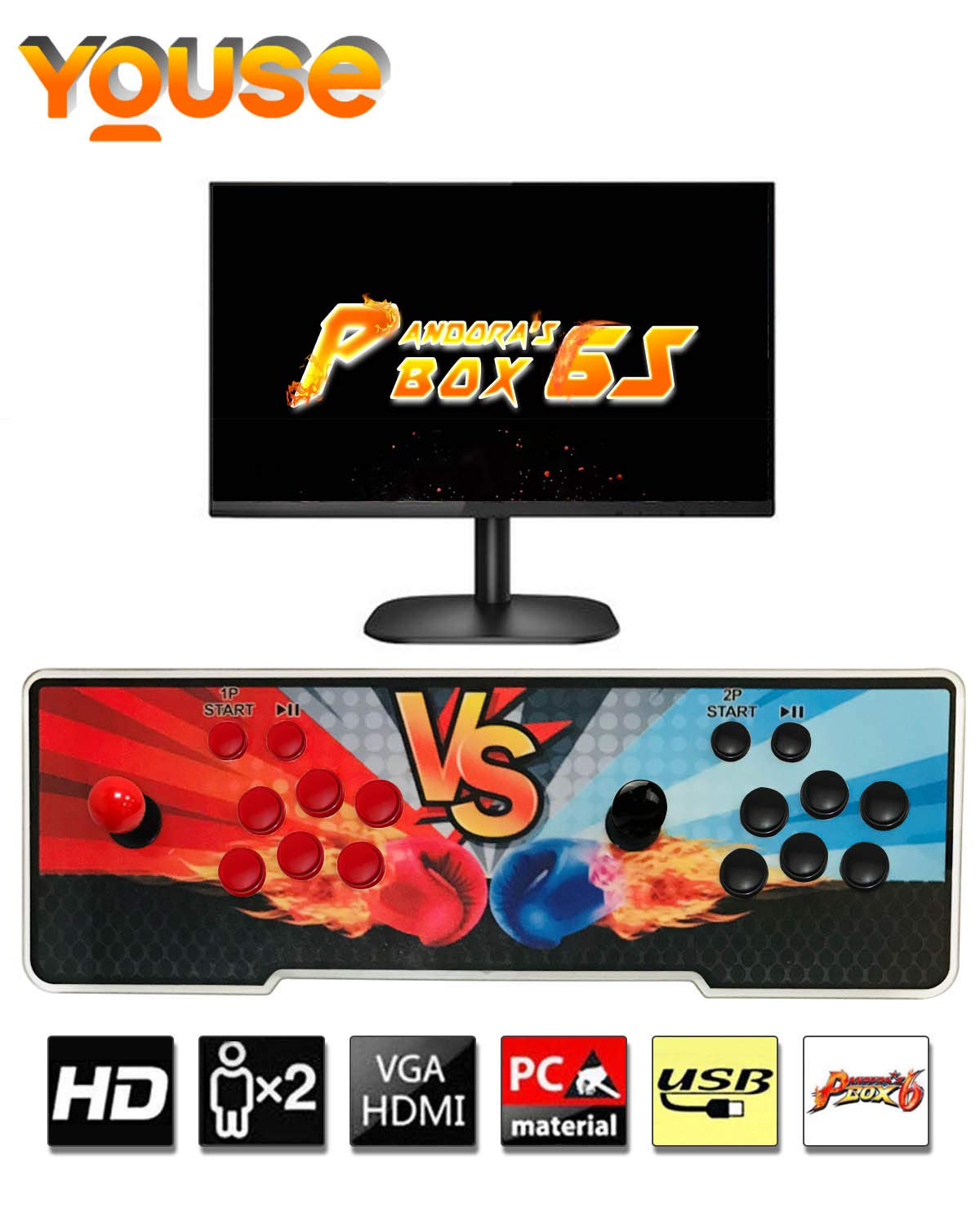 YOUSE Arcade Game Machine, Pandora's Box 6S 1500 Arcade Games in 1 Retro Game Console with 2 Joystick 1280 x 720 Full HD Support HDMI/VGA/USB for PC,TV,PS3.Games Classification , OneButton Pause