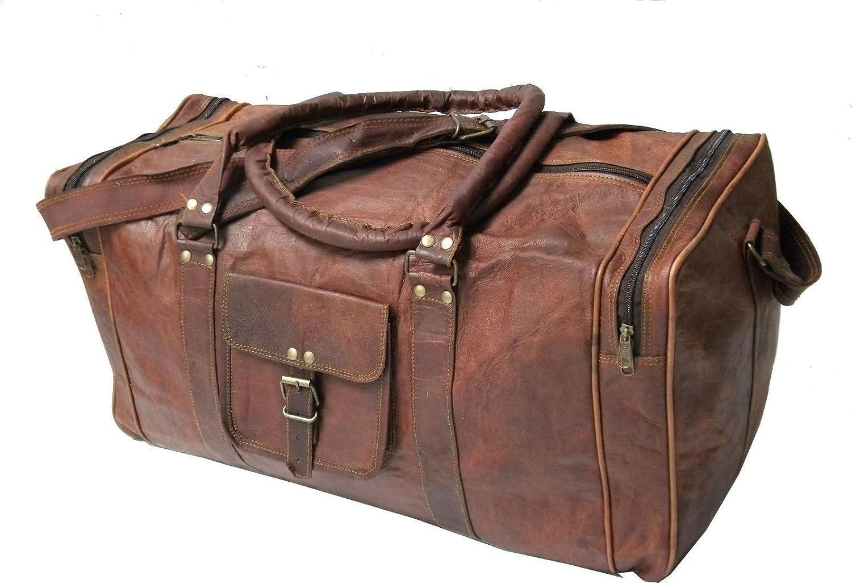 "Leather Genuine Travel Bag Duffle Gym Men Vintage Luggage Overnight Weekend 16/"""