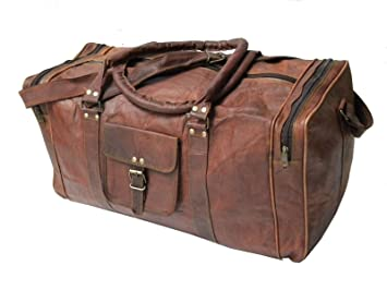 2778ed5ce18738 Image Unavailable. Image not available for. Color: 24 Inch Genuine Leather  Duffel | Travel Overnight Weekend Leather Bag | Sports Gym ...