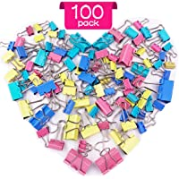 Bulldog Clips - 100 pcs Binder Clips 4 Sizes Foldback Clips Assorted Colours Paper Clips 15mm 19mm 25mm 32mm