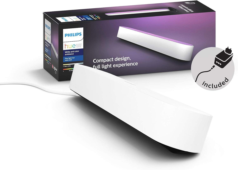 Philips Hue Play Barra de luz regulable compatible con Amazon Alexa, Apple HomeKit y Google Home, luz blanca y de colores, requiere conexión a puente Hue, blanca, incluye alimentador (1 unidad)