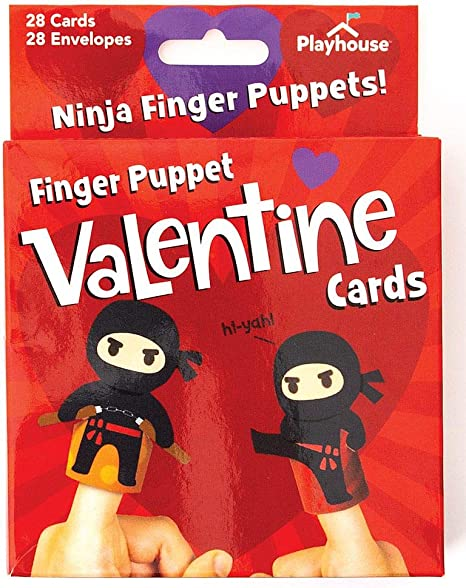 Playhouse Super Ninja Finger Puppets 28 Card Valentine Exchange Box for Kids