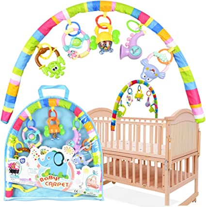 Early Education Activity Gym Play Mat Toy Fitness Frame with Hanging Soft Rattles Learning Carpet Toy for Newborn /& 0 Month Old Baby Boys and Girls